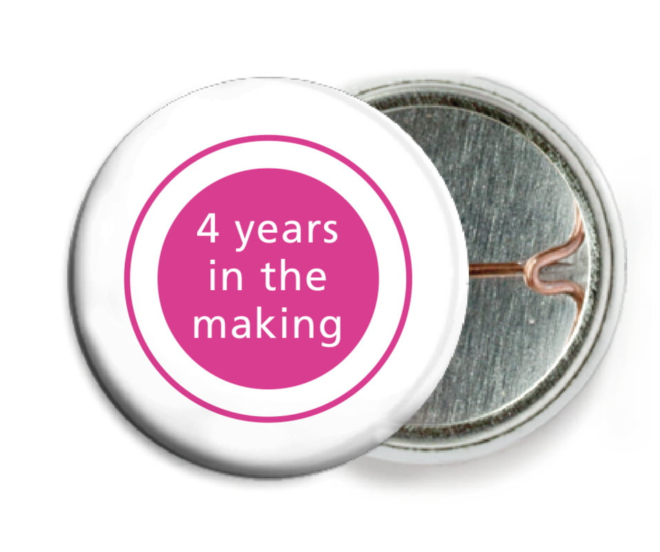 custom pin back buttons - bright pink - cosmopolitan (set of 6)