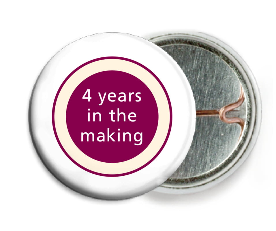 custom pin back buttons - burgundy - cosmopolitan (set of 6)