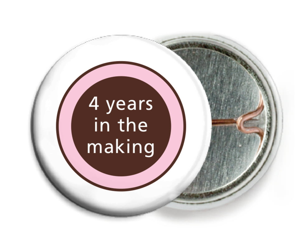 custom pin back buttons - cocoa & pink - cosmopolitan (set of 6)
