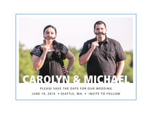 custom save-the-date cards - blue - cosmopolitan (set of 10)