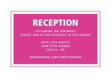 custom enclosure cards - bright pink - cosmopolitan (set of 10)