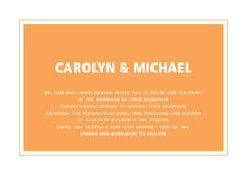 custom invitations - tangerine - cosmopolitan (set of 10)