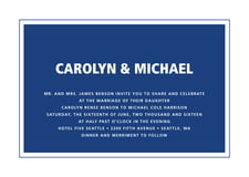 custom invitations - deep blue - cosmopolitan (set of 10)