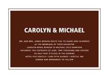 custom invitations - chocolate - cosmopolitan (set of 10)