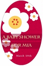 China Blossom tall oval labels