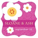 China Blossom fancy square labels