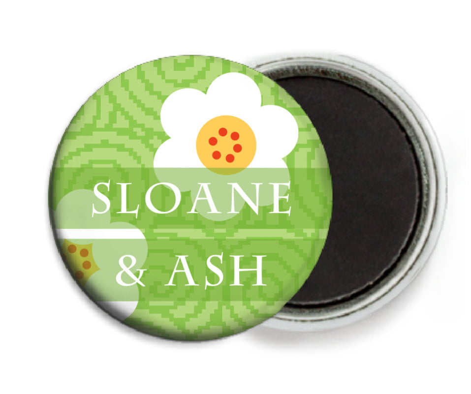 custom button magnets - lime - china blossom (set of 6)