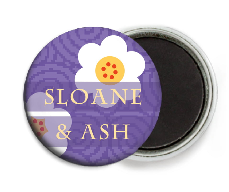 custom button magnets - lilac - china blossom (set of 6)