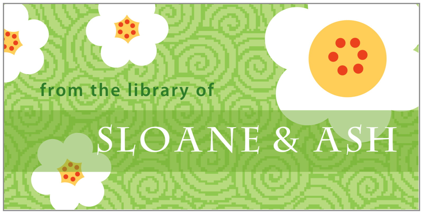 bookplates for everyone - lime - china blossom (set of 24)