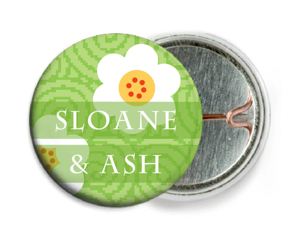 custom pin back buttons - lime - china blossom (set of 6)