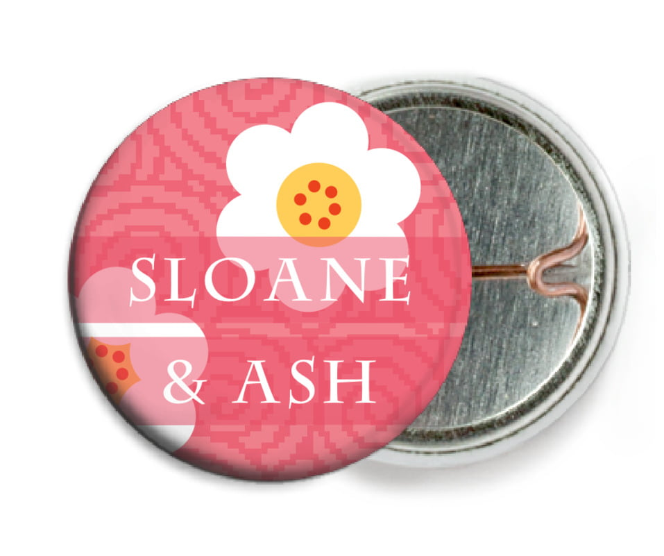 custom pin back buttons - grapefruit - china blossom (set of 6)