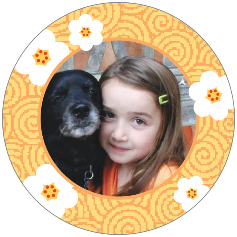 circle photo labels - tangerine - china blossom (set of 20)