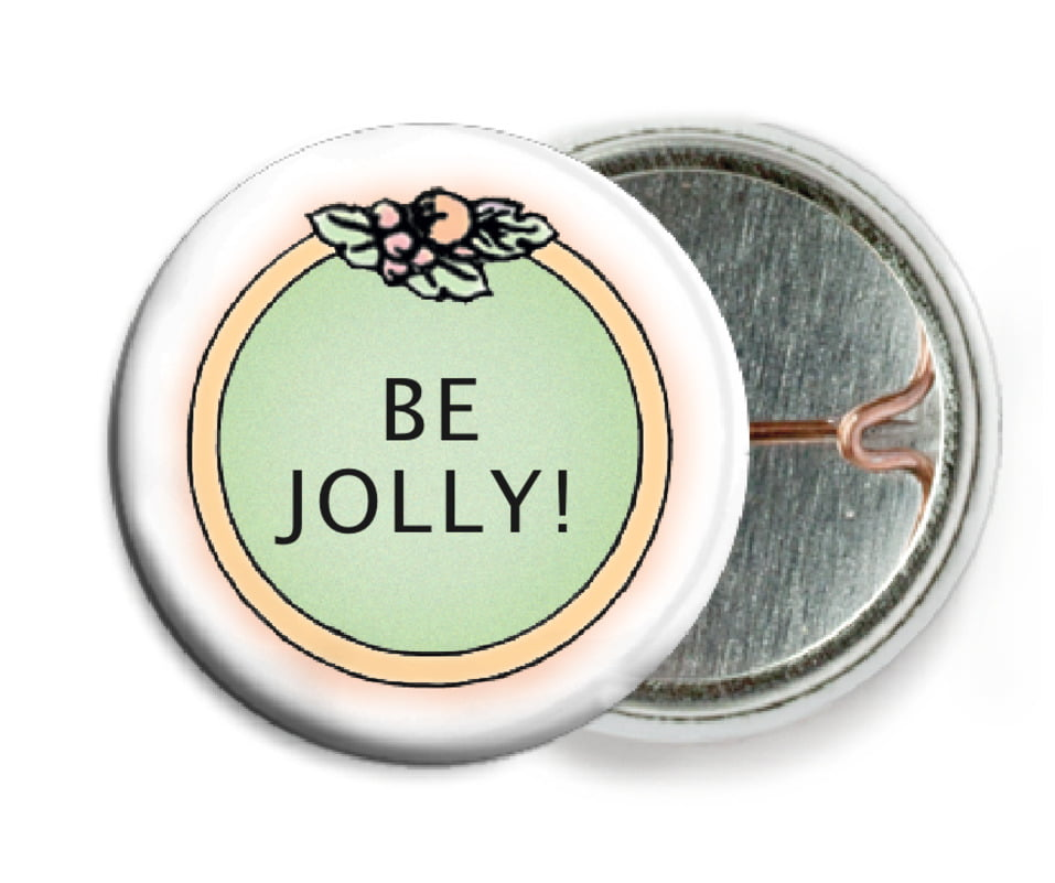 custom pin back buttons - green - cornucopia (set of 6)