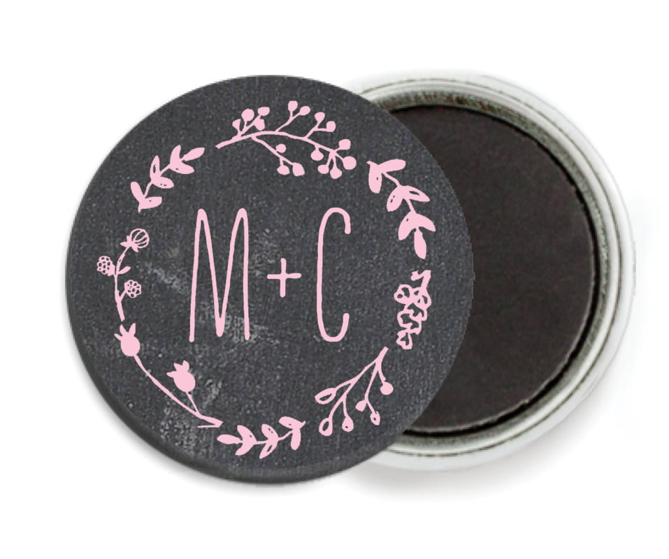 custom button magnets - pale pink - chalkboard (set of 6)