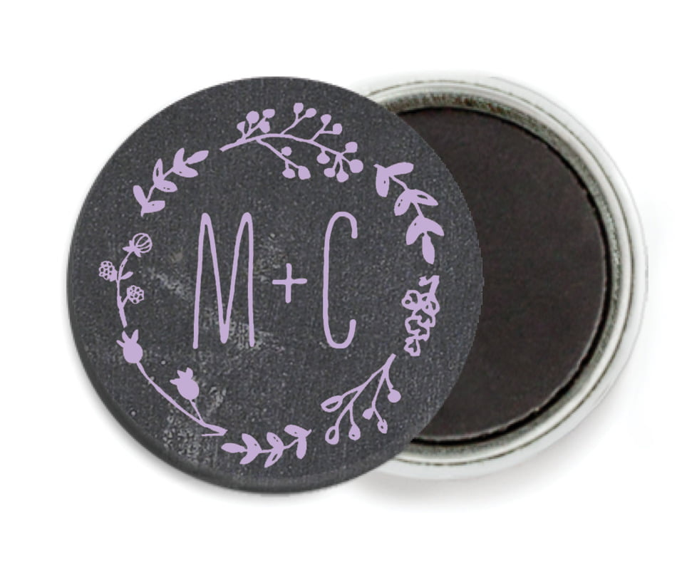 custom button magnets - lilac - chalkboard (set of 6)