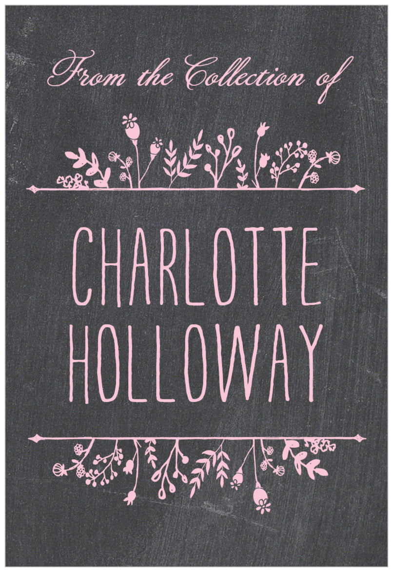 rectangular bookplates - pale pink - chalkboard (set of 15)