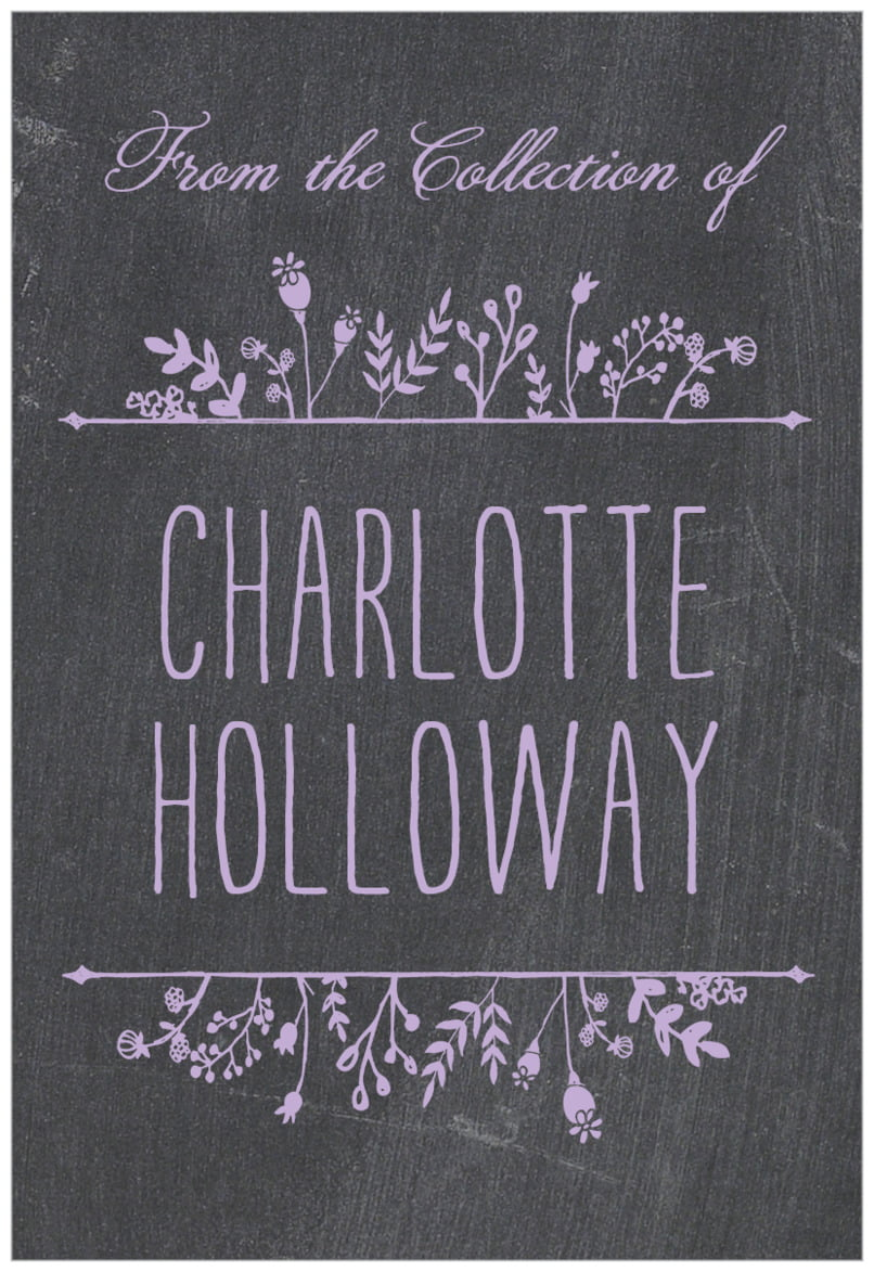 rectangular bookplates - lilac - chalkboard (set of 15)