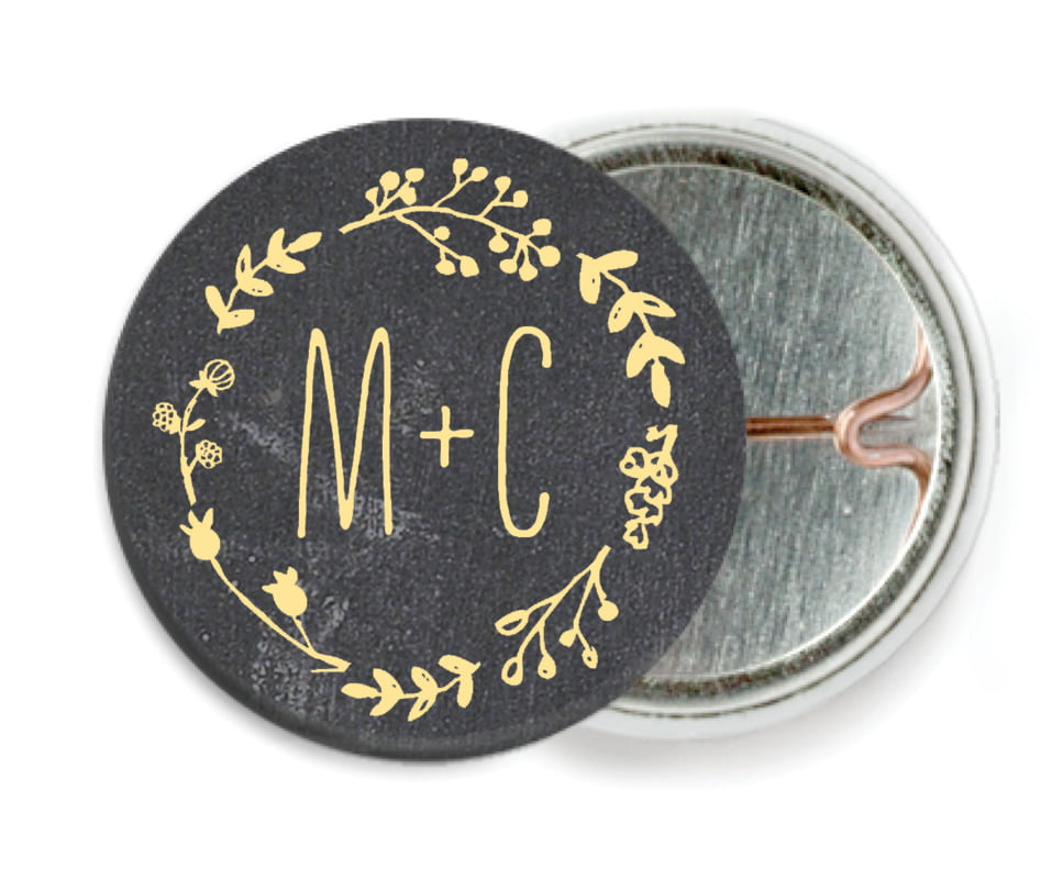 custom pin back buttons - sunburst - chalkboard (set of 6)