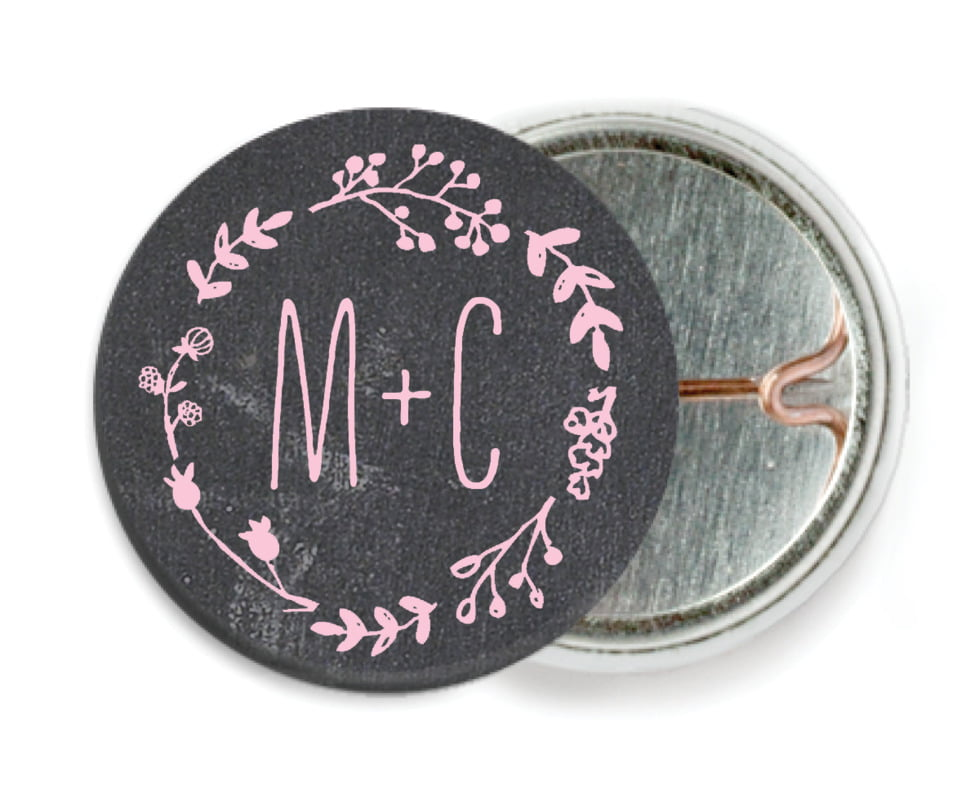 custom pin back buttons - pale pink - chalkboard (set of 6)