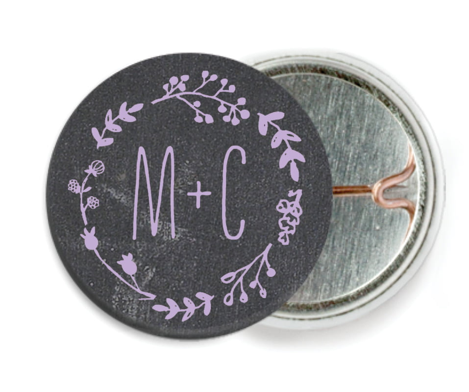 custom pin back buttons - lilac - chalkboard (set of 6)