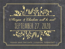 custom save-the-date cards - sunburst - chalkboard (set of 10)