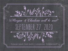 custom save-the-date cards - lilac - chalkboard (set of 10)
