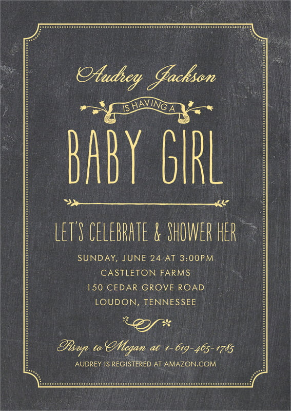 baby shower invitations - sunburst - chalkboard (set of 10)