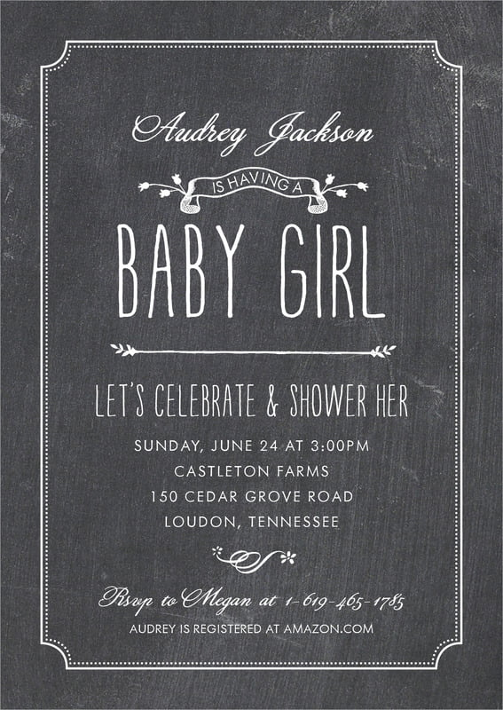 baby shower invitations - tuxedo - chalkboard (set of 10)