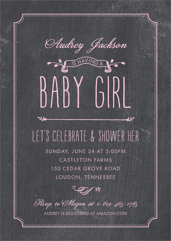 baby shower invitations - pale pink - chalkboard (set of 10)