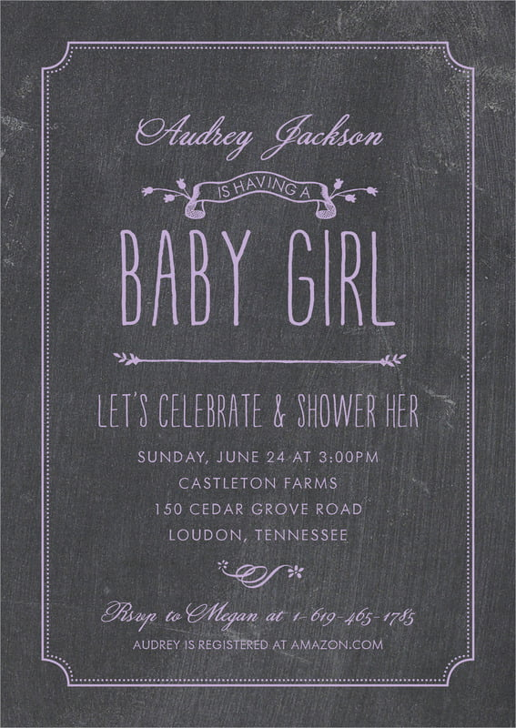 baby shower invitations - lilac - chalkboard (set of 10)