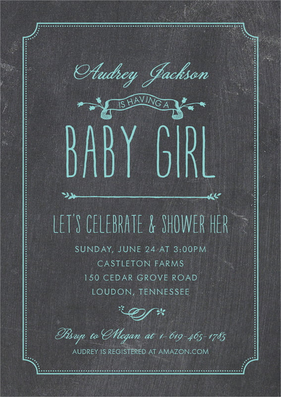 baby shower invitations - aruba - chalkboard (set of 10)