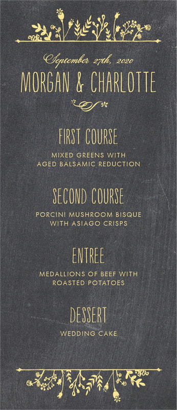 custom menus - sunburst - chalkboard (set of 10)
