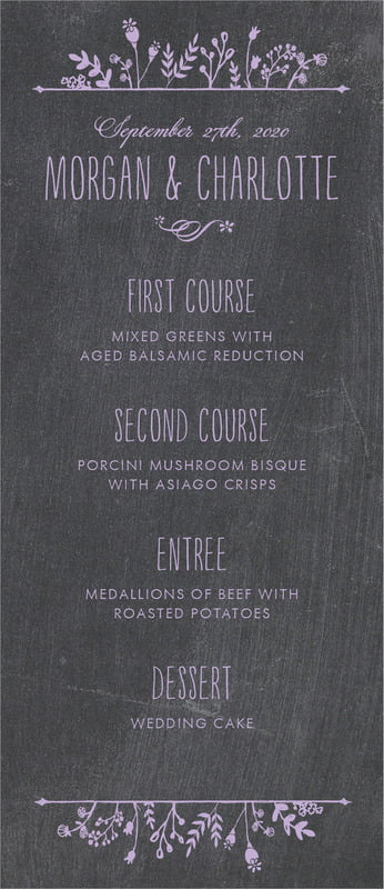 custom menus - lilac - chalkboard (set of 10)