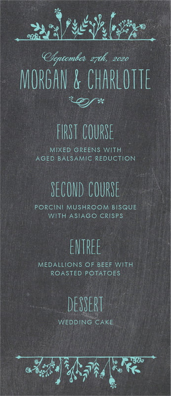 custom menus - aruba - chalkboard (set of 10)