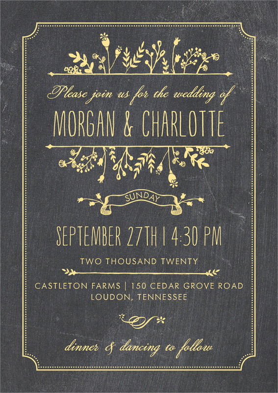 custom invitations - sunburst - chalkboard (set of 10)
