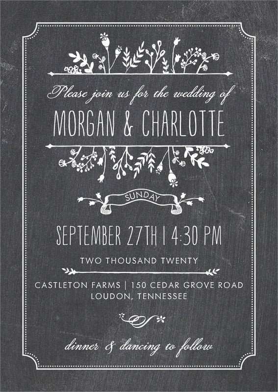 custom invitations - tuxedo - chalkboard (set of 10)