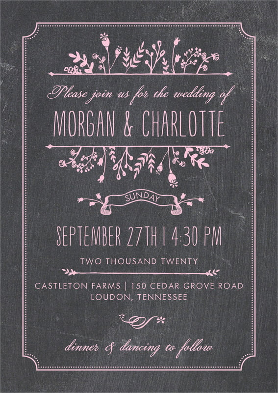 custom invitations - pale pink - chalkboard (set of 10)