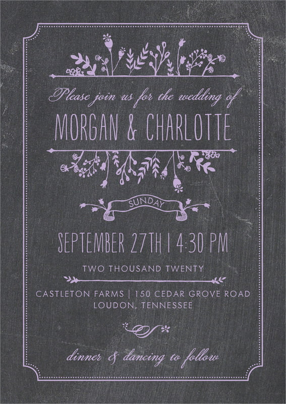 custom invitations - lilac - chalkboard (set of 10)