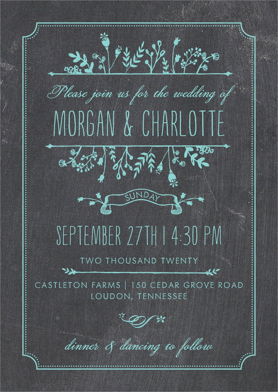 custom invitations - aruba - chalkboard (set of 10)
