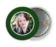 Cherish Hearts Pin Back Button In Green
