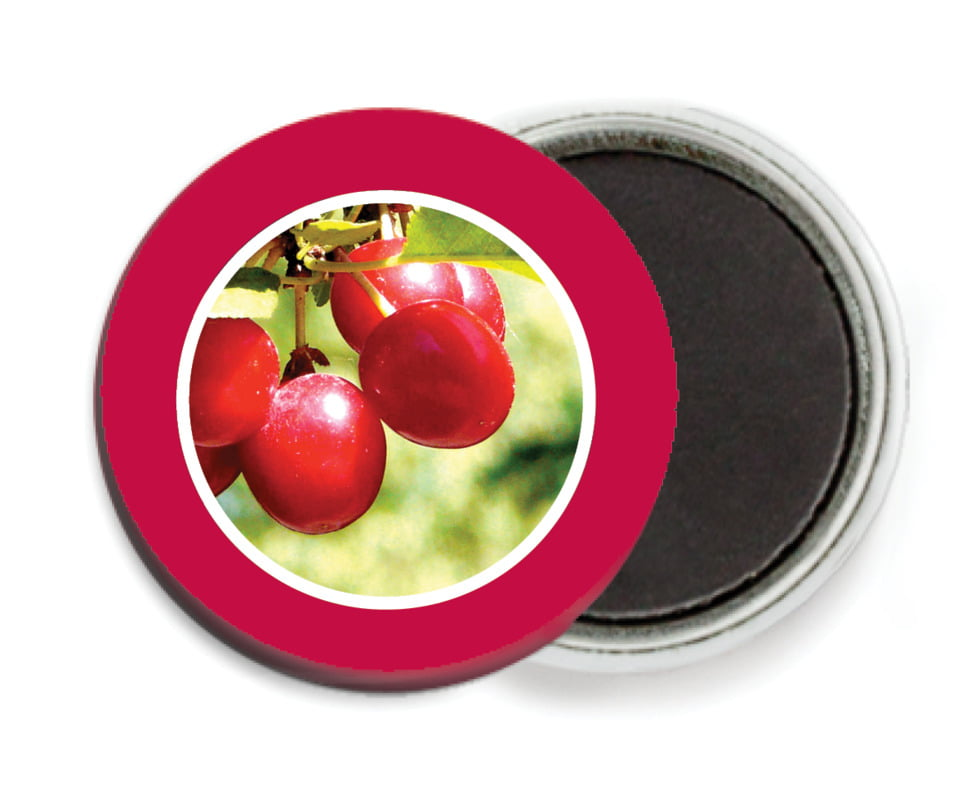 custom button magnets - deep red - cherish hearts (set of 6)