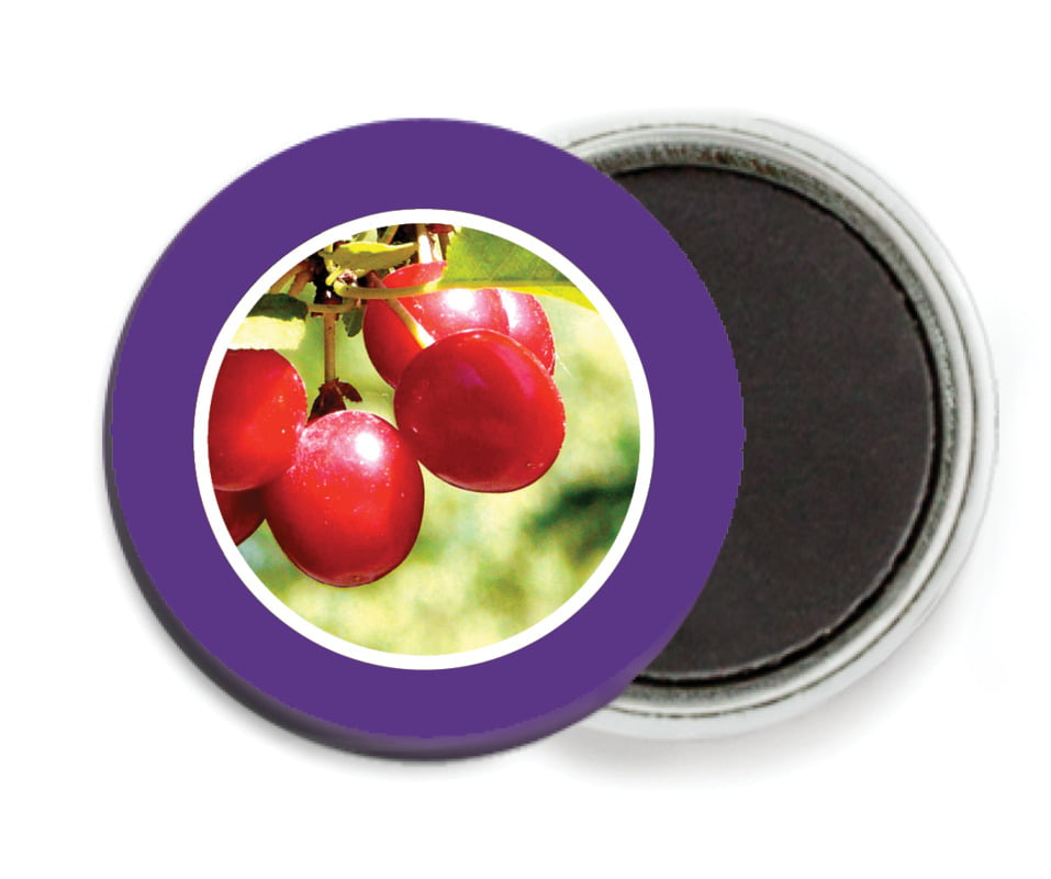 custom button magnets - plum - cherish hearts (set of 6)