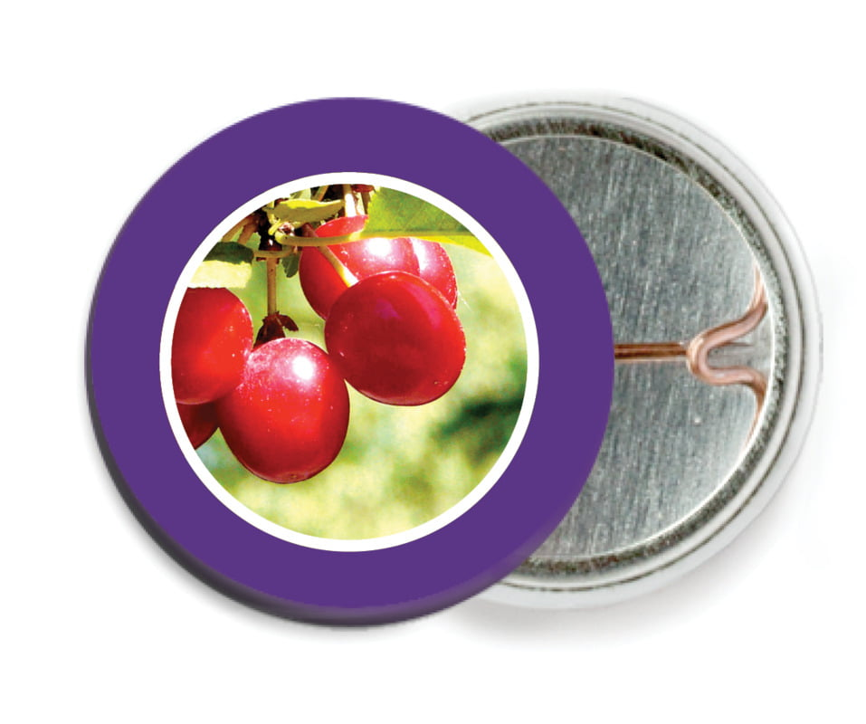 custom pin back buttons - plum - cherish hearts (set of 6)
