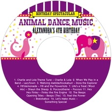 Circus birthday CD/DVD labels