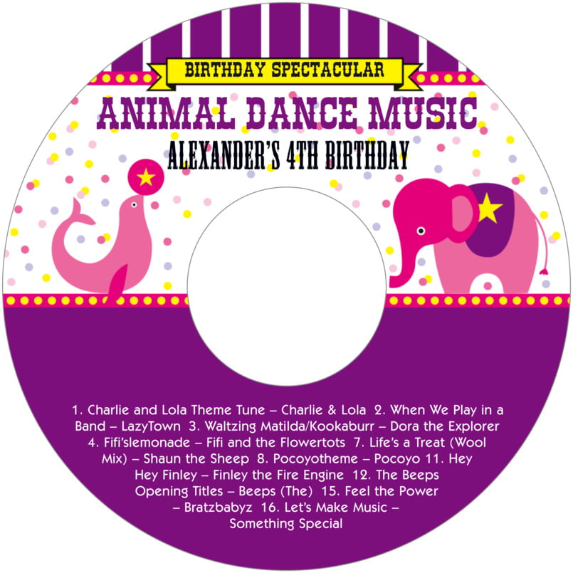 baby cd/dvd labels - purple - circus (set of 12)
