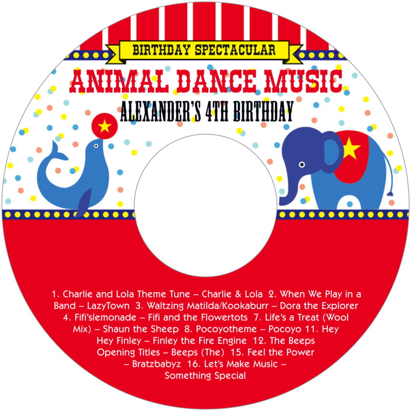baby cd/dvd labels - deep red - circus (set of 12)