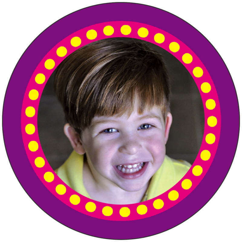 circle photo labels - purple - circus (set of 20)