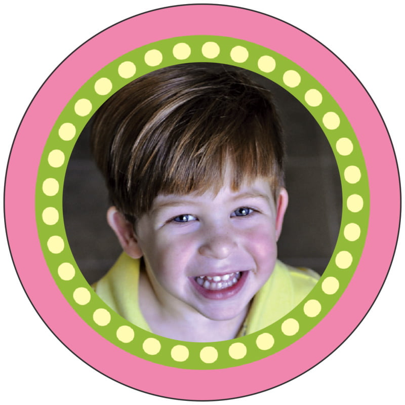 circle photo labels - pale pink - circus (set of 20)