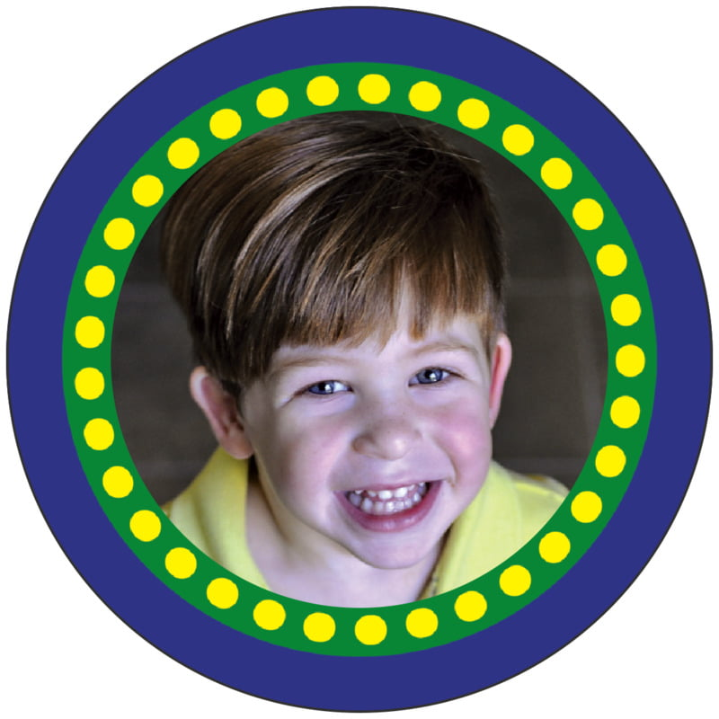 circle photo labels - deep blue - circus (set of 20)