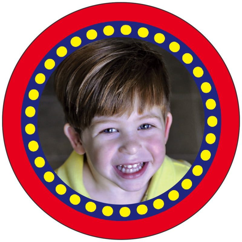 circle photo labels - deep red - circus (set of 20)